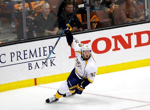 (AP Photo/Chris Carlson). Nashville Predators' Ryan Johansen (92) celebrates after scoring a goal against the Anaheim Ducks during the first period of Game 2 of the Western Conference final in the NHL hockey Stanley Cup playoffs, Sunday, May 14, 2017, ...