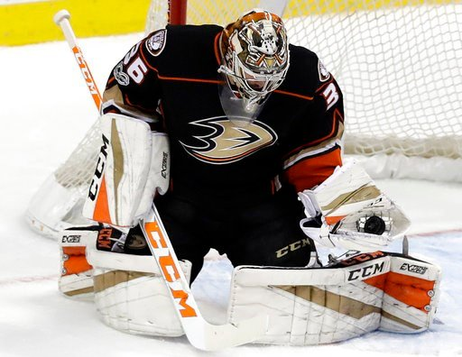 (AP Photo/Chris Carlson). Anaheim Ducks goalie John Gibson (36) blocks a shot by Nashville Predators' Pontus Aberg (46) during the first period of Game 2 of the Western Conference final in the NHL hockey Stanley Cup playoffs, Sunday, May 14, 2017, in A...