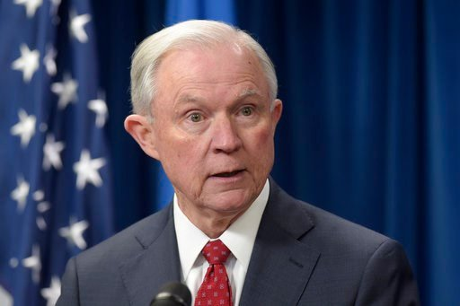 Attorney General Jeff Sessions speaks at the U.S. Customs and Border Protection office in Washington. Sessions whose contacts with Russia's ambassador to the U.S. during the presi