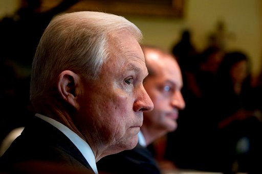 Attorney General Jeff Sessions attends a Cabinet meeting with President Donald Trump Monday