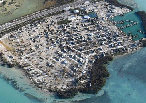 (Matt McClain/The Washington Post via AP, Pool). Overturned trailer homes are shown in the aftermath of Hurricane Irma, Monday, Sept. 11, 2017, in the Florida Keys.