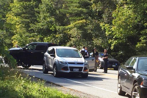 (Jennifer Hauck/The Valley News via AP). A suspect in an active shooter incident at Dartmouth-Hitchcock Medical Center was pulled from a grey Ford Escape at the intersection of LaHaye Drive and Mount Support Road in Lebanon, N.H., on Tuesday, Sept. 12,...