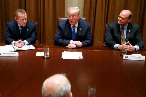 (AP Photo/Evan Vucci). Rep. Josh Gottheimer, D-N.J., left, and Rep. Tom Reed, R-N.Y., right, listen as President Donald Trump speaks during a meeting with a bipartisan group of lawmakers in the Cabinet Room of the White House, Wednesday, Sept. 13, 2017...