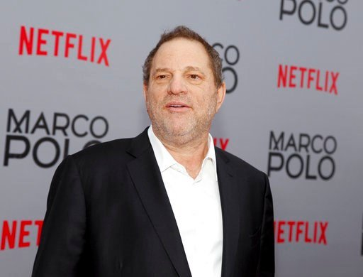"""(Photo by Andy Kropa/Invision/AP, File). FILE - In this Dec. 2, 2014, Harvey Weinstein attends the season premiere of the Netflix series """"Marco Polo"""" in New York. Weinstein faces multiple allegations of sexual abuse and harassment from some of the bigg..."""