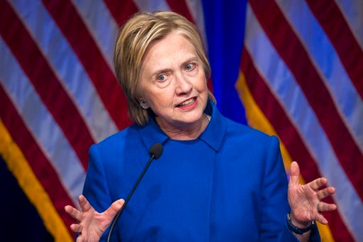 (AP Photo/Cliff Owen, File). FILE - In this Nov. 16, 2016 file photo, Hillary Clinton speaks in Washington. Time has not healed the Democratic party's wounds. On Election Day 2016, Democrats suffered a devastating and shocking loss. A year later, they'...