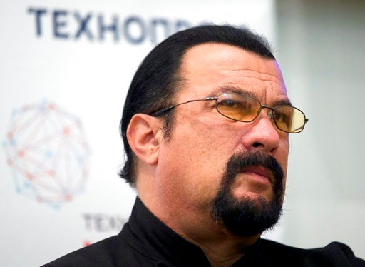 (AP Photo/Ivan Sekretarev, File). FILE - In this Sept. 22, 2015, file photo, actor Steven Seagal speaks at a news conference, while attending an opening ceremony for a research and development center in Moscow, Russia. Jenny McCarthy said on her Sirius...