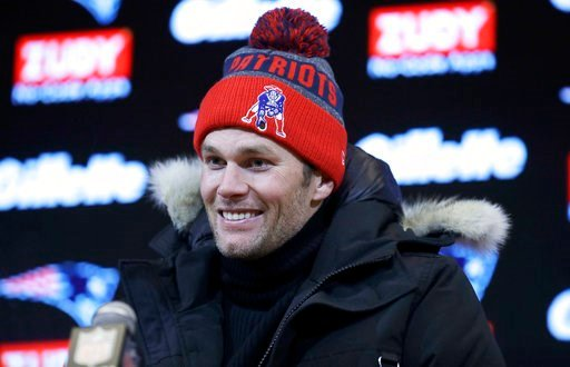 (AP Photo/Charles Krupa, File). FILE - In this Dec. 31, 2017, file photo, New England Patriots quarterback Tom Brady speaks to the media following following an NFL football game against the New York Jets, in Foxborough, Mass. If Brady's history against...