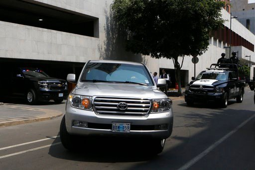 (AP Photo/Marco Ugarte). A convoy transporting White House envoy Jared Kushner leaves the Foreign Ministry and heads to the presidential residence Los Pinos, in Mexico City, Wednesday, March 7, 2018. The senior White House adviser and presidential son-...
