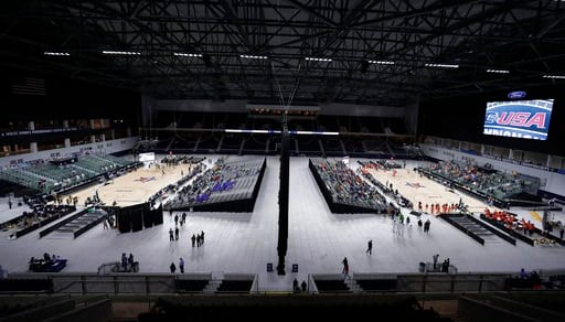 (AP Photo/Tony Gutierrez). A general, overall view of Ford Center as Florida International University plays Southern Miss on Court A, at left, and University of Texas San Antonio plays University of Texas El Paso on Court B, at right, simultaneously on...