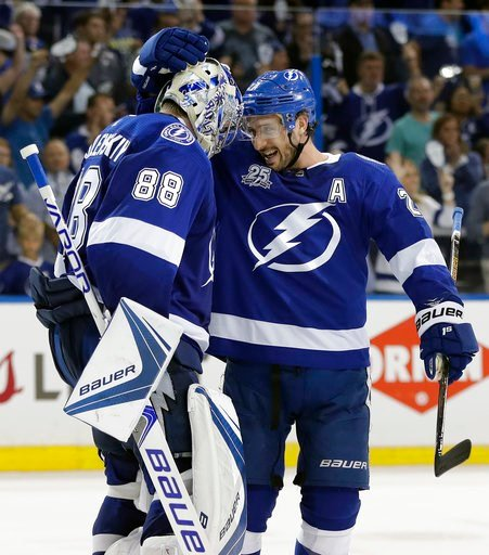 (AP Photo/Chris O'Meara). Tampa Bay Lightning goaltender Andrei Vasilevskiy (88) celebrates with Ryan Callahan (24) after the Lightning defeated the New Jersey Devils 5-2 during Game 1 of an NHL first-round hockey playoff series Thursday, April 12, 201...