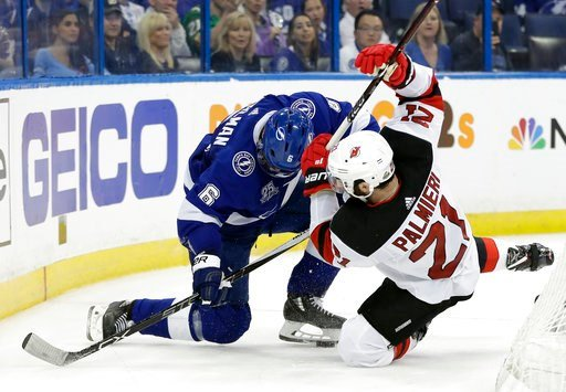 (AP Photo/Chris O'Meara). Tampa Bay Lightning defenseman Anton Stralman (6) and New Jersey Devils right wing Kyle Palmieri (21) collide whiles chasing the puck during the third period of Game 1 of an NHL first-round hockey playoff series Thursday, Apri...
