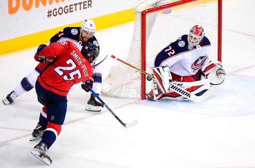 (AP Photo/Nick Wass). Washington Capitals right wing Devante Smith-Pelly (25) scores a goal against Columbus Blue Jackets goaltender Sergei Bobrovsky (72) during the third period in Game 1 of an NHL first-round hockey playoff series Thursday, April 12,...
