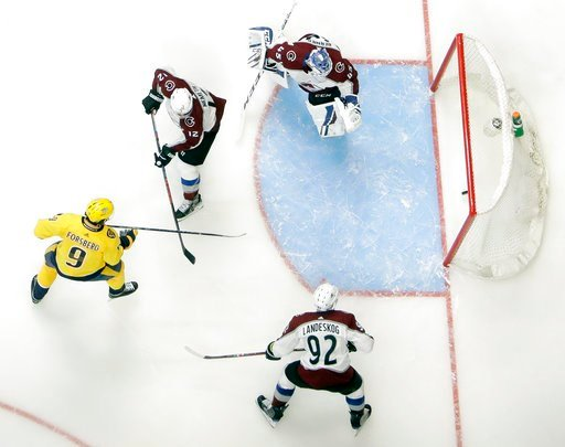(AP Photo/Mark Humphrey). Nashville Predators left wing Filip Forsberg (9), of Sweden, scores a goal against Colorado Avalanche goaltender Jonathan Bernier (45) during the third period in Game 1 of an NHL hockey first-round playoff series Thursday, Apr...