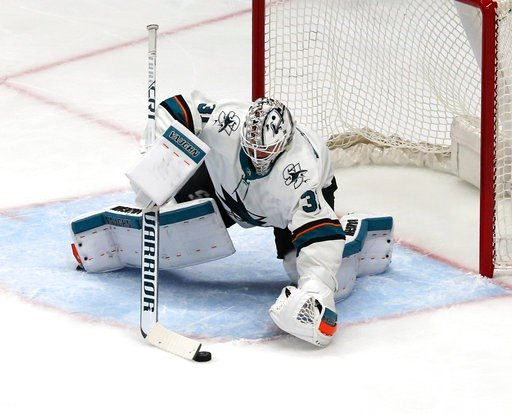 (AP Photo/Reed Saxon). San Jose Sharks goalie Martin Jones goalie Martin Jones (31) protects the goal against the Anaheim Ducks during the first period of Game 1 of an NHL hockey first-round playoff series in Anaheim, Calif., Thursday, April 12, 2018.
