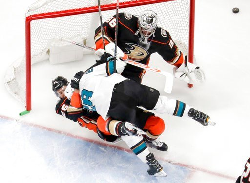 (AP Photo/Reed Saxon). San Jose Sharks right wing Timo Meier (28) collides with Anaheim Ducks defenseman Brandon Montour, left, in front of goaltender John Gibson during the first period of Game 1 of an NHL hockey first-round playoff series in Anaheim,...