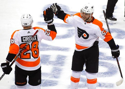 (AP Photo/Gene J. Puskar). Philadelphia Flyers' Shayne Gostisbehere (53) celebrates his goal with Claude Giroux (28) during the first period in Game 2 of an NHL first-round hockey playoff series against the Pittsburgh Penguins in Pittsburgh, Friday, Ap...