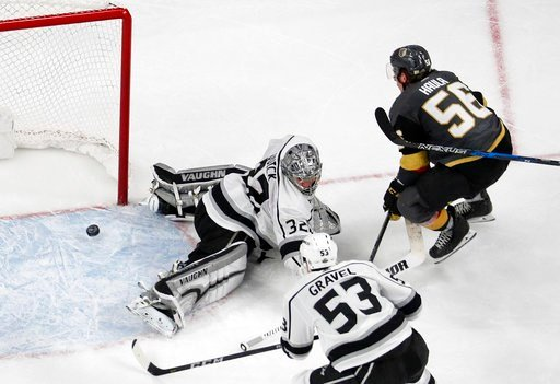 (AP Photo/John Locher). Vegas Golden Knights left wing Erik Haula (56) scores the game winning goal against Los Angeles Kings goaltender Jonathan Quick during the second overtime of Game 2 of an NHL hockey first-round playoff series, Friday, April 13, ...