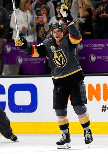 (AP Photo/John Locher). Vegas Golden Knights left wing Erik Haula celebrates after defeating the Los Angeles Kings in the second overtime of Game 2 of an NHL hockey first-round playoff series, Friday, April 13, 2018, in Las Vegas.