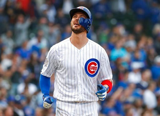 (AP Photo/Kamil Krzaczynski). Chicago Cubs' Kris Bryant reacts after final strike out against Atlanta Braves' A.J. Minter during the ninth inning of a baseball game, Monday, May 14, 2018, in Chicago.