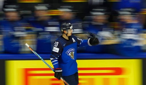 (AP Photo/Petr David Josek). Finland's Sebastian Aho celebrates after scoring his sides first goal during the Ice Hockey World Championships group B match between Finland and the United States at the Jyske Bank Boxen arena in Herning, Denmark, Tuesday,...