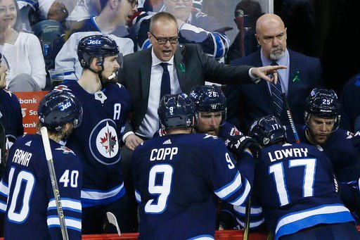 (John Woods/The Canadian Press via AP). Winnipeg Jets coach Paul Maurice talks to his team during the third period of Game 1 of the NHL hockey playoffs Western Conference final against the Vegas Golden Knights, Saturday, May 12, 2108, in Winnipeg, Mani...