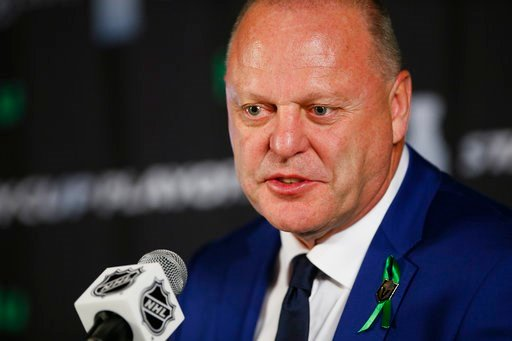 (John Woods/The Canadian Press via AP). Vegas Golden Knights coach Gerard Gallant talks to media after Game 1 of the NHL hockey playoffs Western Conference finals, Saturday, May 12, 2108, in Winnipeg, Manitoba. The Winnipeg Jets defeated the Golden Kni...
