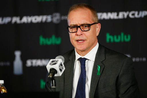 (John Woods/The Canadian Press via AP). Winnipeg Jets coach Paul Maurice talks to reporters after Game 1 of the NHL hockey playoffs Western Conference finals, Saturday, May 12, 2108, in Winnipeg, Manitoba. The Jets defeated the Vegas Golden Knights 4-2.