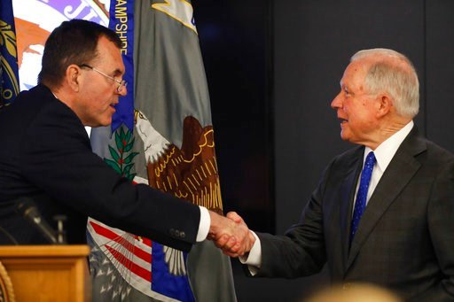 (AP Photo/Robert F. Bukaty). Attorney General Jeff Sessions is greeted after being introduced by Scott Murray, U.S. Attorney for New Hampshire, before speaking on the opioid and fentanyl crisis, Thursday, July 12, 2018, in Concord, N.H.